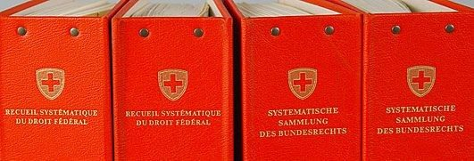 Folders containing the official compilation of Swiss federal legislation